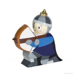 Le Coin des Enfants, Figurine en bois peint Chevalier Arbalète bleu