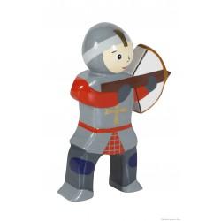 Le Coin des Enfants, Figurine en bois peint Chevalier Arbalète Rouge