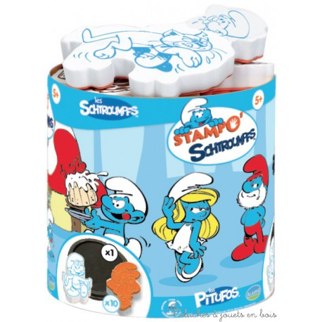 Aladine Stampo Minos schtroumpf 10 tampons + encreur 85138