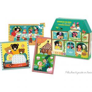 3 puzzles en bois sur le thèmes des contes dont la difficulté des puzzles est croissante signés Vilac. A partir de 3 ans+