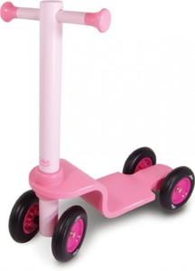 Grâce aux quatre grosses roues silencieuses de ce jouet en bois qui est en réalité une trottinette,  les petites filles pourront apprendre l'équilibre et la motricité directionnelle en toute sécurité.