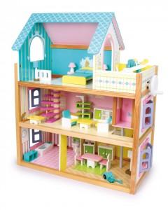 Cette charmante maison de poupées en bois est fournie entièrement meublée