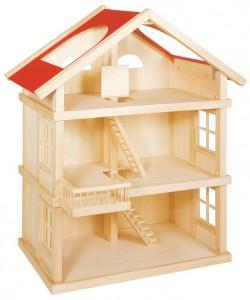 Maison de poupées en bois fournie sans meubles, on peut choisir de la meubler comme on veut ! On peut trouver toutes sortes de poupées souples en bois et tous les styles de meubles et accessoires de décoration, fabriqués également en bois et à la même échelle.