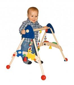 Favoriser le développement psychomoteur de bébé avec cet adorable portique d'activité sur roulettes décoré de petites autos et de clips détachables qui permettent aussi à bébé de s'éveiller et de développer son imagination.