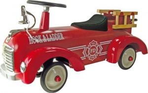 Porteur trotteur bébé en métal pour de se prendre pour un véritable pompier, avec la cloche, les échelles et la lance à incendie !
