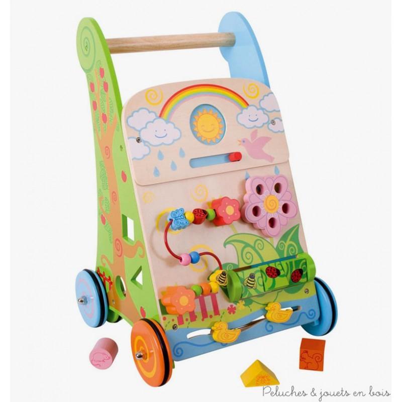 Un chariot de marche et centre d'activité fleur de la marque Bigjigs pour apprendre à bébé à faire ses premiers pas et découvrir 7 activités différentes pour jouer. A partir d'un an+