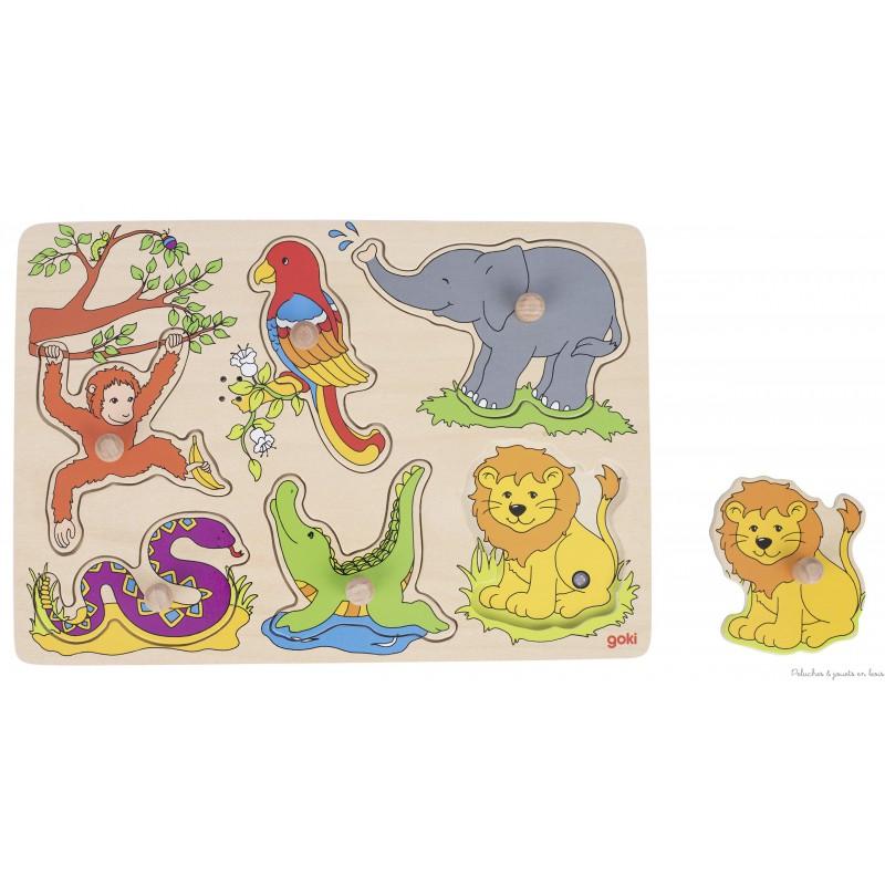 Un puzzle à encastrements sonore en bois les animaux du zoo de la marque Goki. A partir de 1 an+