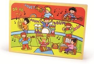 POUÊT !!! GLING ! GLING !!! Jeu d'encastrement musical en bois « orchestre » signé de la marque Vilac avec 8 pièces associées à un son pour bébé à partir d'un an.