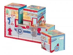 Un puzzle  cube dans une autre version autour du thème de voiture de pompier, avec ses six combinaisons.