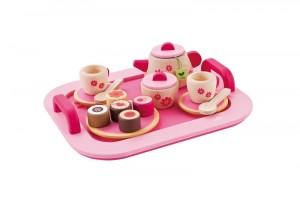 magnifique petit plateau à thé rose au motif raffiné