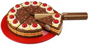 Toujours pour jouer à la marchande ou à la dinette : toujours un superbe gâteau mais cette fois en chocolat ! Il y a même des velcros fixés sur chaque morceau pour jouer à découper les parts