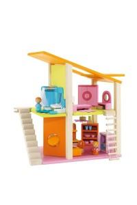 La maison de poupée mini avec ses meubles de la marque de jouets en bois Sevi