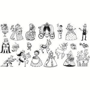 """impressions des tampons contenus dans le sceau """"princesses"""""""