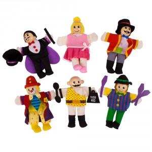 voici le set de marionnettes à doigts de tous les principaux personnages du cirque !