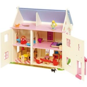 Ce modèle de maison de poupées en bois de 3 étages appelé Grande maison rose, blanche et mauve, est un cadeau parfait pour votre petite fille.