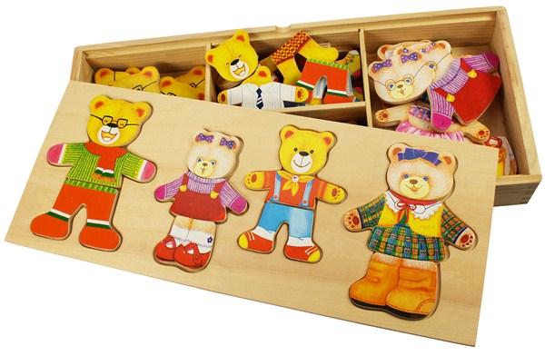 """Dans la continuité de l'histoire...juste comme il fallait pour...Boite de jeux puzzle """"la famille ours"""" en bois à habiller"""