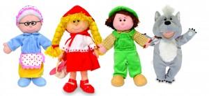 Coffret de 4 marionnettes à main en tissus sur le thème du petit chaperon rouge pour raconter de merveilleuses histoires.
