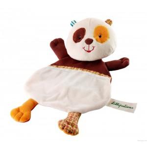 Une fois la main glissée dans le dos de clara, le doudou de bébé devient une marionnette animée. Idéale pour stimuler l'imagination. Dimensions 25 x 20 cm.