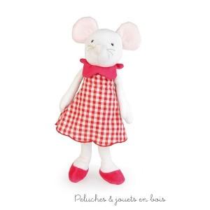 Twiggy est une très élégante souris musicale, vêtue d'une robe en vichy rose fuchsia Taille 28 cm signée Egmont Toys