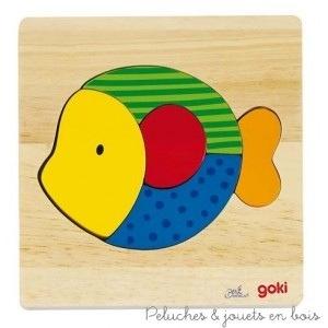 Un joli puzzle poisson de la marque Goki, avec 5 pièces colorées et gaies sur un support en bois massif épais de grande qualité. A essayer à partir de 2 ans+