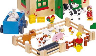 veau-vache-cochon-poule-coq-enclos-autant de mini jouets en bois pour recréer l'univers de la ferme