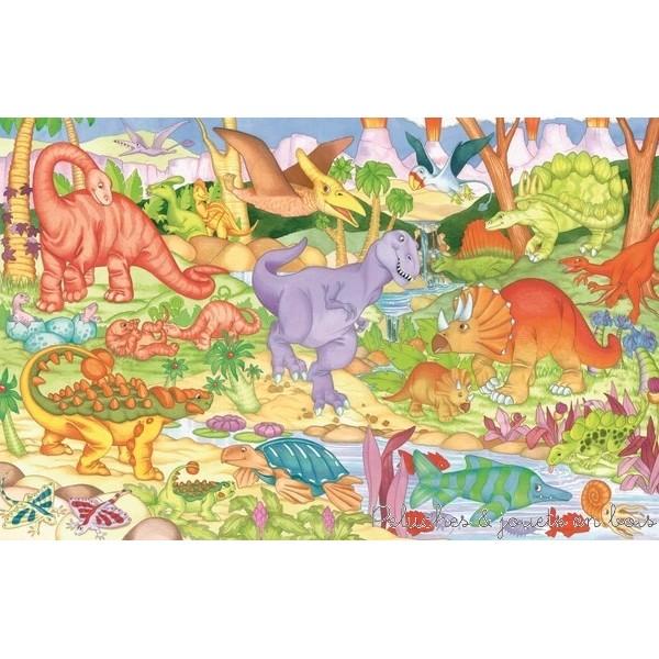 Un puzzle de sol géant (90 cm x 60 cm) de 30 pièces dont 8 en forme de dinosaures avec lesquel on peut jouer indépendament de la marque Galt. A partir de 3 ans +