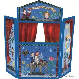 Grand théâtre en bois, pliable, design de Nathalie Lété pour Vilac. Rideaux en tissu. 3 ans+