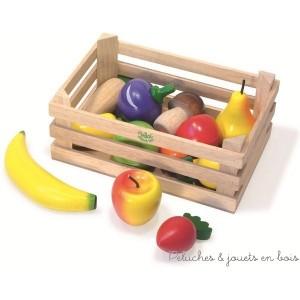 Vilac ref 6168 Jeux et Jouets en Bois une caissette de 13 fruits et légumes : pomme, poire, banane, fraise...
