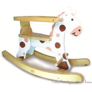 Huuuuue ! Quel bonheur de se balancer sur ce cheval à bascule original ! Roudoudou blanc avec arceau de sécurité amovible. Nouveau - Jouet en bois À assembler par le client Dimensions du produit : L = 70 cm hauteur d'assise 26 cm