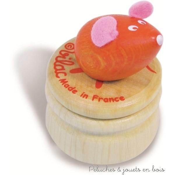 Boite à dents de lait souris orange en bois, fabriquée en France, signée Vilac