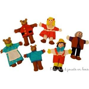 Un set de 6 marionnettes à doigt de la marque Bigjigs contenant Boucle d'or et les trois ours ainsi que Pinocchio et Gepetto. A partir de 3 ans+