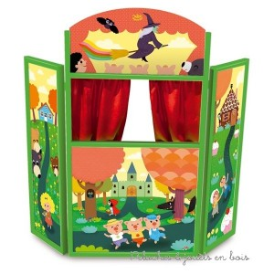 Le grand théatre des contes en bois pliables avec des rideaux rouges en tissus, dessiné par Mélusine pour Vilac. A partir de 3 ans+