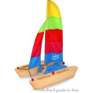 Ce catamaran en bois aux voiles multicolores a fière allure et fera le bonheur des enfants à partir de 3 ans mais aussi des plus grands. Dimensions 28 x 38 x 17 cm.