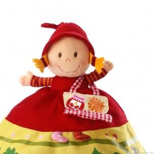 Une marionnette Chaperon Rouge réversible 3 en 1 de la marque Lilliputiens. A partir de 9 mois+
