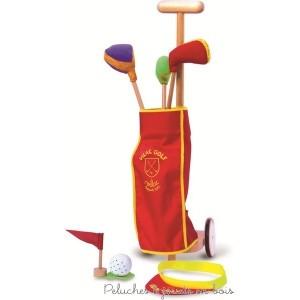 Un ensemble caddie de Golf sur roulettes comprenant 3 clubs, un drapeau, une balle et une visière. Hauteur : 68 cm. Normes CE.