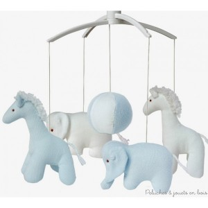 Mobile musical de la marque Trousselier sur le thème girafe et Eléphant de couleur Bleu ciel et blanc, adapté aux tout petits dès la naissance.