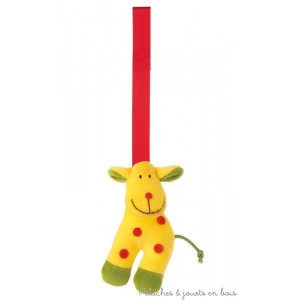clip textile sur le thème de la girafe pouët-pouët d'éveil en tissu de la marque Sigikid