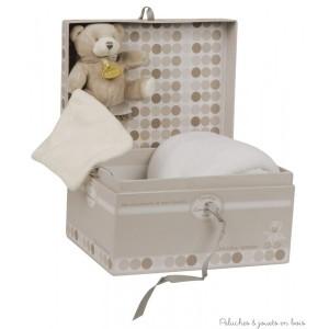 Un très joli coffret cadeau qui se ferme par un ruban taupe et est réutilisable à souhait, incluant une couverture blanche chaude et douce et un petit ours bonbon mouchoir à câliner. Pour accompagner bébé dès la naissance. Dimensions de la couverture 90 x 90 cm et de l'ours 15 cm. Normes CE.