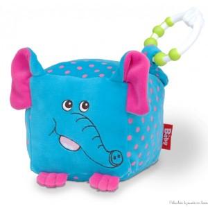 """Un gros cube en peluche """"éléphant"""" avec un anneau de dentition et des fonctions sonores de la marque Fiesta Crafts. A partir de 0m+"""