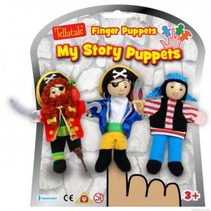 Un set de 3 marionnettes à doigt pirates de la marque Fiesta Crafts. A partir de 3 ans+ ou plus tôt si c'est papa ou maman qui les utilise pour raconter une histoire.