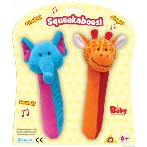 Un set de deux joyeux hochets sonores à saisir éléphant et girafe de la marque Fiesta Crafts. A partir de 0 mois+