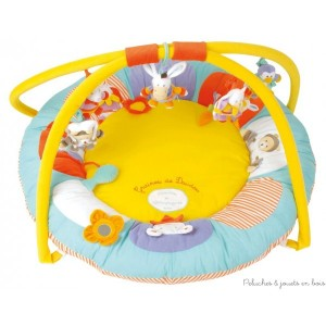 Ce tapis d'éveil cocon Graine de doudou est moelleux et confortable. Avec ses matières douces et ses jouets amusant il deviendra vite le terrain de jeu favori et de toutes les découvertes de votre enfant. Grâce aux activités d'éveil proposées sur les arches et sur le tapis : personnages hochets, papiers craquants, miroirs...bébé s'amuse et s'éveille en découvrant bien installé sur le dos ou sur le ventre, les formes, les couleurs, les matières et les bruits. Les sujets sont détachables l'ensemble du produit est lavable en surface et répond aux normes de sécurité en vigueur. Diamètre 90 cm Normes CE. Conditionnement : sac pvc