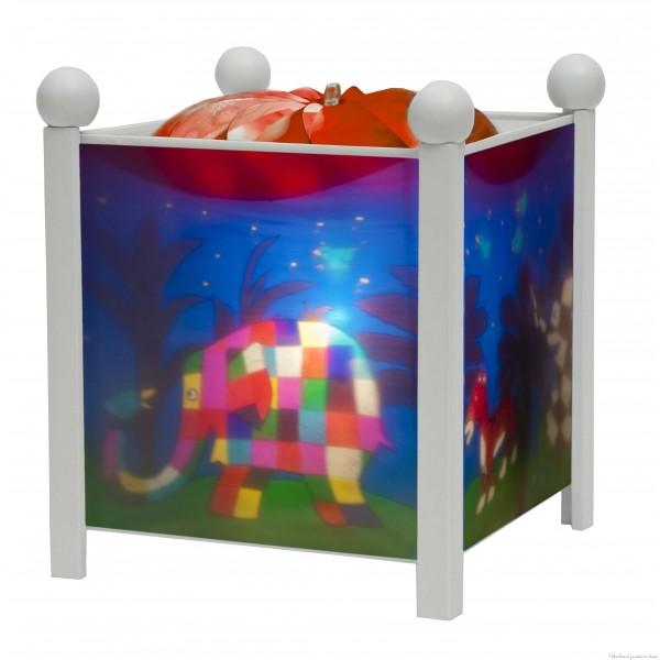 """Lanterne magique de la marque Trousselier sur le thème """"Elmer© l'éléphant"""" de couleur blanche. A partir de 0m+"""