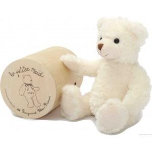 Bérénice l'ours de la marque Les Petites Marie 30 cm, livré dans une très jolie boite en bois pour un cadeau apprécié. A partir de 0m+