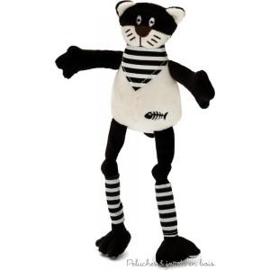 """Dans la collection ferme des longues pattes, Pacha est un sympathique chat  tout doux de 45 cm avec de longues pattes et un bandana.Il miaule quand on lui appuie sur le ventre. Présenté dans une belle boite en bois cylindrique estampillée """" les petites Marie"""" il sera un cadeau de naissance apprécié. Norme CE EN71"""