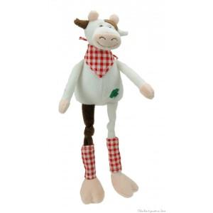 """Dans la collectin ferme des longues pattes, Perrette est une adorable vachette tendre et douce de 45 cm avec de longues pattes et un bandana. Présentée dans une belle boite en bois cylindrique estampillée """"Les Petites Marie"""" elle fera un cadeau de naissance apprécié. Norme CE EN71"""
