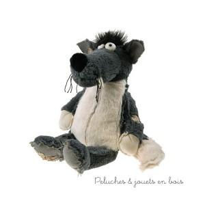 Zarbilou le loup de la marque Les Petites Marie dans une très jolie cagette en bois pour un cadeau apprécié. A partir de 0m+