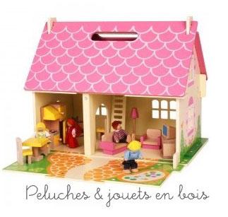 la maison de poup e en bois 2 le charme d 39 une petite. Black Bedroom Furniture Sets. Home Design Ideas