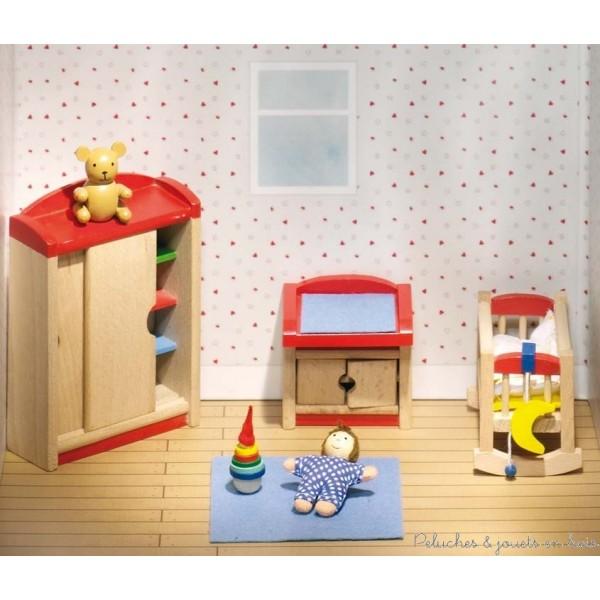 Maison de poup es en bois sans meubles ni accessoires pour for Ameublement pour chambre