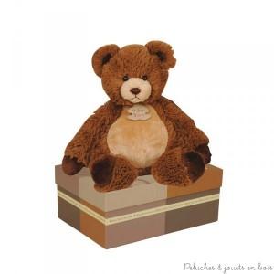 Un très sympathique Papouill'ours de 30 cm de la marque Histoire d'Ours. Pour offrir trois sentiments essentiels : douceur, jeux et joie. Livré en boite cadeau.  A partir de 0m+